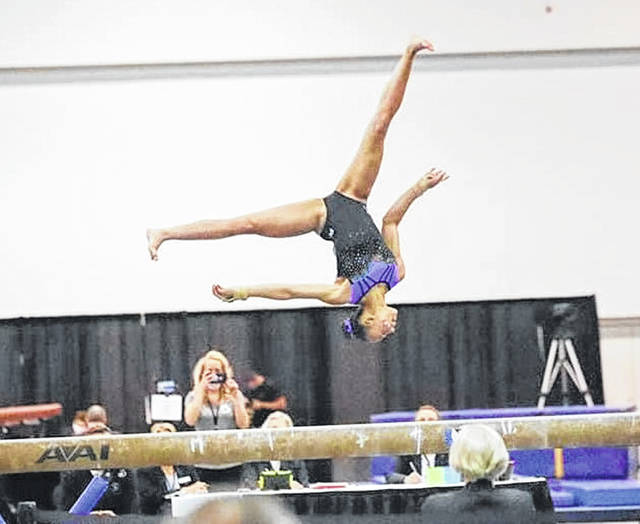 Submitted photos Kali Freeman competes at the USA Gymnastics Level 9 Eastern National Championships in Atlanta, Georgia.