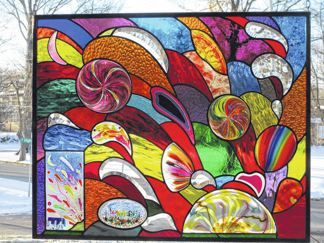 Stained glass by Bob Pozarski of Akron at Art on the Lawn in 2019.