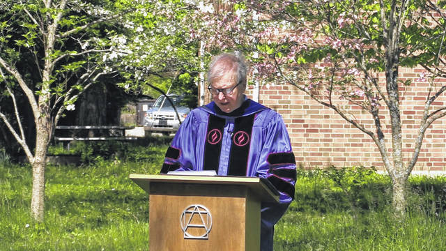 Screenshots Antioch college graduated its class of 2021 on Saturday, June 26 ten students receiving a Bachelor of Arts, and two students receiving a Bachelor of Science. Tom Manley, president emeritus of Antioch College, gives his opening address.