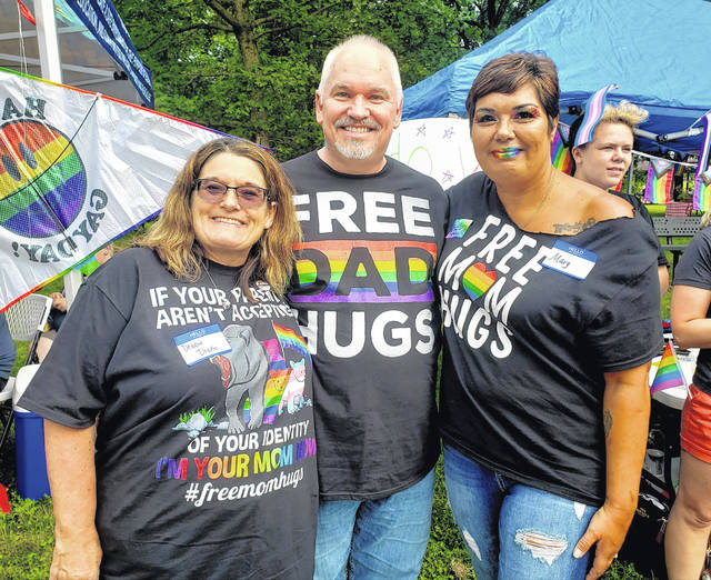 Local members of Free Mom Hugs at Fairborn Pride. Free Mom Hugs Ohio is an organization of parents and allies that support LGBTQ+ youth.