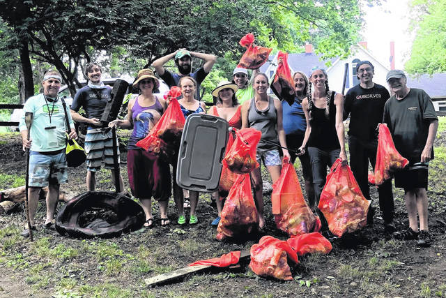 Participants collected approximately 1,280 pounds of trash over a two-week period, including seven tires, a wagon wheel, a traffic cone, a muffler, trash can, and plastic pipes.
