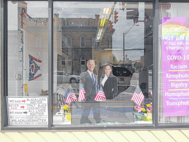 File photos In the early hours of Friday, July 16, bricks were thrown through the windows of Greene County Democratic Party headquarters. With the windows being broken, glass was spread all around the accompanying sidewalk.