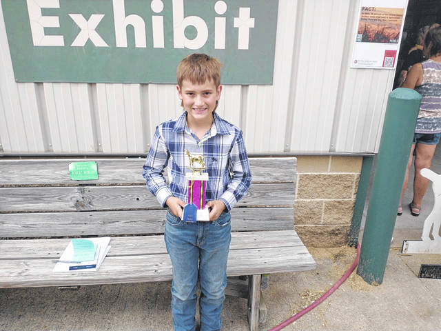 Darryl McGee | Greene County News Cedarville's Eli Dickens won first place in the Pee Wee Goat Showmanship 7- and 8-year old age group Wednesday.