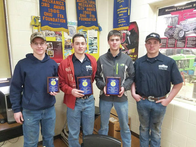 Provided photo MVCTC Ag Mechanics Skills Team of Zane Brehm (Arcanum), Myles Landes (Bethel), and Malachi Markley (Tri-Village) won the FFA District 5 Contest and qualified for the State FFA Contest in April. Pictured left to right - Zane Brehm, Malachi Markley, Myles Landes, and Jacob Phelps (Alternate).