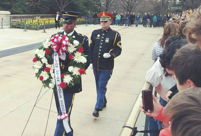 Photo courtesy of Milton-Union Middle School Eighth grade students from Milton-Union Middle School went on a class trip to Washington D.C. last week. Students attended wreath laying ceremony at Arlington National Cemetery on April 12, which including a wreath bearing the school's name.
