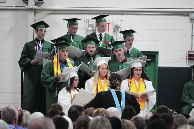 Cecilia Fox | AIM Media Senior members of the high school choir perform at the Bethel High School commencement ceremony on June 2.