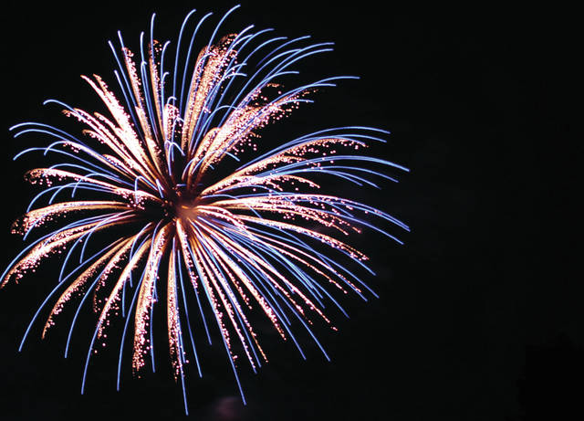 Cecilia Fox | Weekly Record Herald file photo The annual fireworks show is planned fore Wednesday, July 4, at 10 p.m. in City Park. Unlike in previous years, visitors to the park will not be allowed to sit on the field in the stadium.