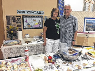 Provided photo The International Food Tasting Festival was held at Hoffman United Methodist Church on Saturday, June 16. Eight different countries were represented. This is another activity sponsored by the United Methodist Women. All donations are used for various mission projects. The church appreciates all those who took time out of their day to stop by. Pictured are Tim and Kathy Koeller, who were representing her native New Zealand.