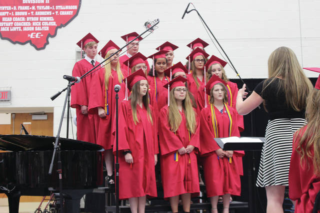 Tipp City Schools Members of the high school choir performed during the Tippecanoe High School 2018 commencement ceremony May 26.