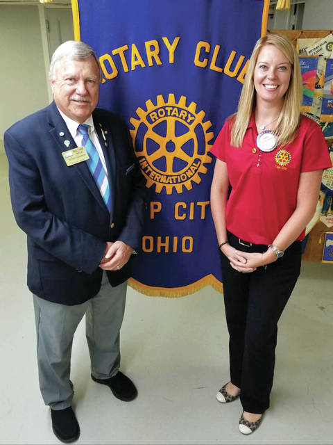 "Provided photo Rotary District 6670 Governor William Shulla visited the Tipp City Rotary Club. This year's theme is ""Be The Inspiration,"" and the six areas of focus are: peace, disease prevention/treatment, sanitation/hygiene, maternal/child care, the teacher shortage, and economic development. District 6670 has 52 clubs under Shulla's leadership. Shulla talked about his Rotary journey, background, and that he only had 60-days to prepare for his second term as district governor (previously DG 2015-2016). He challenged the club to have a net 1 percent increase in membership, donate to the Rotary Foundation, and achieve a Presidential Citation. Pictured are District Governor William Shulla and 2018-2019 Tipp City President Corey Vaughn."