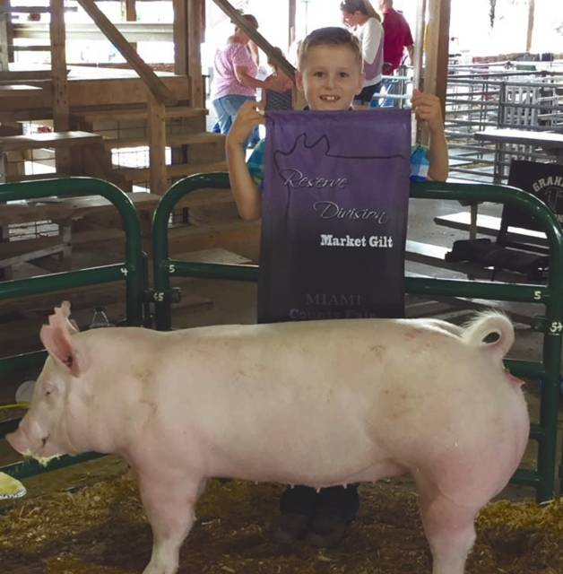 Lane Grube, 7, the son of David and Mindy Grube, won Reserve Division Market Yorkshire Gilt Born and Raised and Open Show with Frosty.