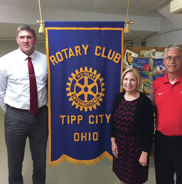 Provided photo Pictured are JD Foust, Dr. Gretta Kumpf, and Gary Pfister from the Tipp City school district, who updated the Rotary on various projects.