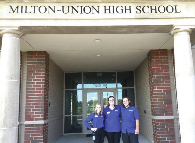 Provided photo Student Ambassadors visited Milton Union's sophomores on Tuesday, Sept. 4. They were Megan Trittschuh, West Milton; Carley Asher, Preble Shawnee; and Sam Hunter, Tipp City.