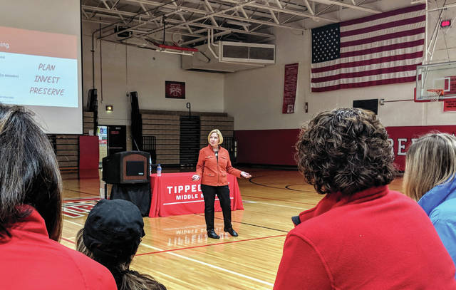 Cecilia Fox | Weekly Record Herald Superintendent Gretta Kumpf addressed residents during a community engagement meeting Tuesday night.