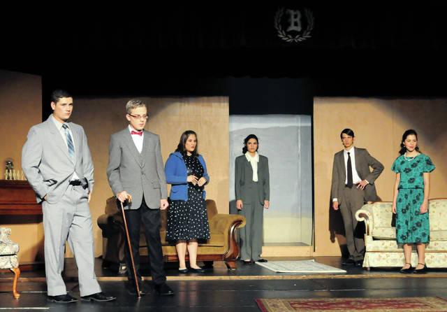 "Cecilia Fox | Troy Daily News Bethel High School's fall play, ""And Then There Were None,"" stars Brayden Peake as William Blore, Adam Cartwright as Lawrence Wargrave, Amber Aguilar as Emily Brent, Syerra Fiery as Dr. Armstrong, Jonathon North as Philip Lombard and Sophia Yarwick as Vera Claythorne."