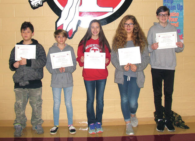 Provided photo Congratulations to the TMS Students of the Month for November (from left): Skyler Engle, Ashley Sigmon, Samantha Pritchett, Jada Hansgen, Allyson Paradiso. Not pictured: Kennedy Coles. These students were chosen because they exemplify the character trait of creativity.