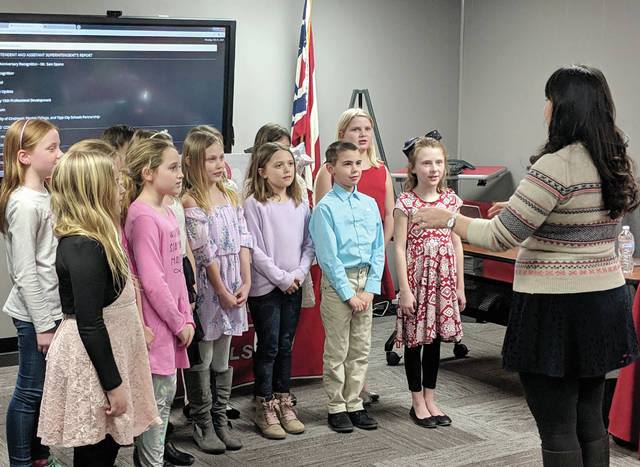 Cecilia Fox | Weekly Record Herald The members of a new third grade choir directed by music teacher Jennifer Wightman performed for the board at their February meeting.