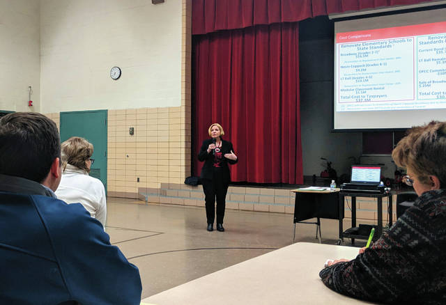 Cecilia Fox | Weekly Record Herald Tipp City Schools Superintendent Gretta Kumpf answered questions about the Broadway Elementary School property.