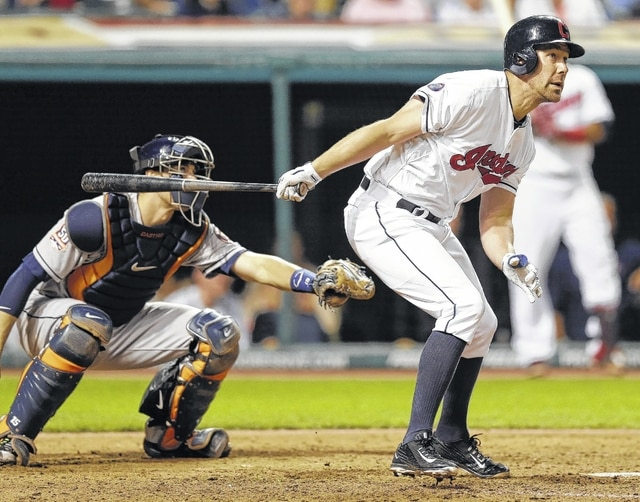 AP photo The Indians' David Murphy hits a two-RBI double off Houston's Joe Thatcher during the eighth inning of Wednesday's game in Cleveland.