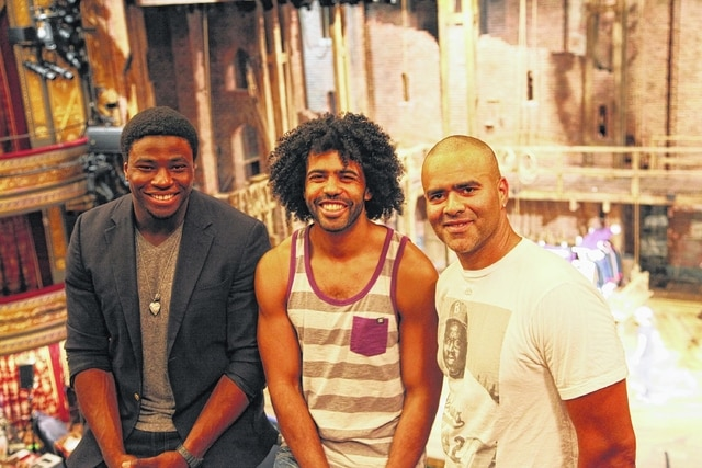 """This July 10 photo released by Sam Rudy Media Relations shows, from left, Okieriete Onaodowan, Daveed Diggs, and Christopher Jackson inside the Richard Rogers Theatre in New York. The three actors portray U.S. presidents in the groundbreaking hip-hop musical """"Hamilton."""" (Shane Marshall Brown/Sam Rudy Media Relations via AP)"""