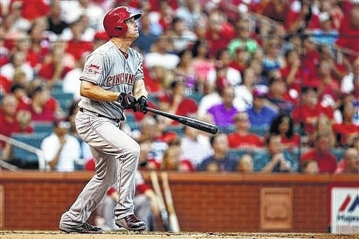 Cincinnati Reds' Jay Bruce watches his home run hit off of St. Louis Cardinals starting pitcher John Lackey during the second inning Wednesday, in St. Louis. AP Photo