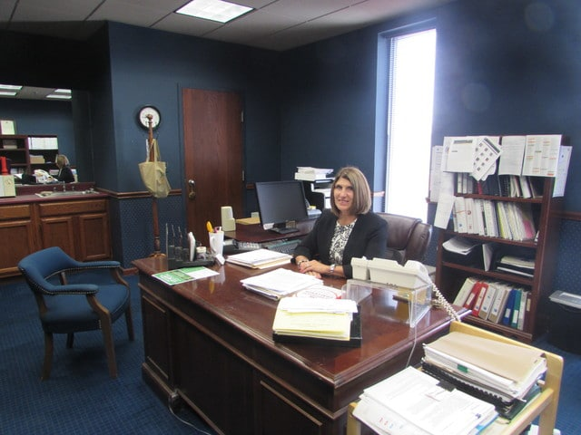 Danae King | The Lima News Linda Hamilton, the new West Ohio Food Bank Chief Executive Officer, sits at her desk on Wednesday, her first day on the job.