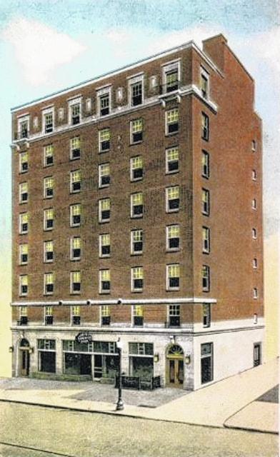 A postcard of the Kirwan Hotel during its earlier days. It opened its 90 rooms for business in 1926. It was backed by Lima businessmen A.J. Ritzler and Dan H. Kirwan. Ritzler owned theaters, and Kirwan was president of Colonial Finance Co.