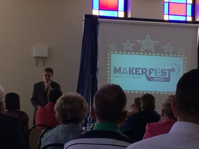 Danae King | The Lima News Doug Arthur, director of the Allen Economic Development Group Workforce Vision, talks about MakerFest 2015 at a six month community update event on Thursday afternoon.