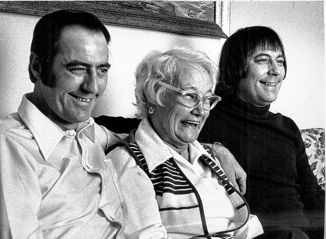 James E. Lewis, from left, Lucille Cheney (mother of Lewis) and James A. Springer pose for a photo in 1979 after they were reunited after 39 years of separation. They held an open house to introduce the families.