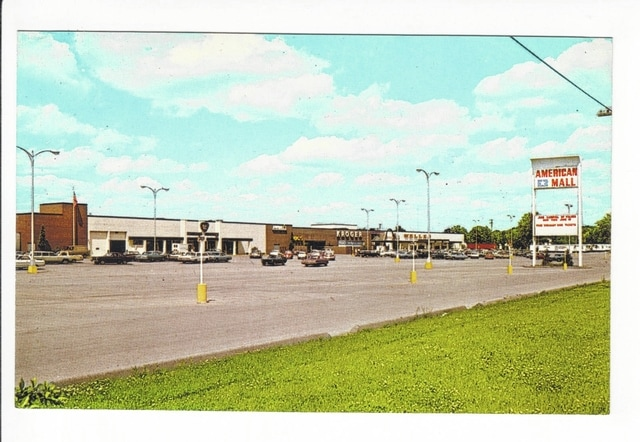 An undated photo of the American Mall shows Kroger and Welles.