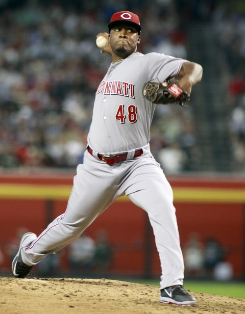 Cincinnati Reds starting pitcher Keyvius Sampson delivers a pitch against the Arizona Diamondbacks during the second inning of a baseball game, Saturday, Aug. 8, 2015, in Phoenix. (AP Photo/Ralph Freso)