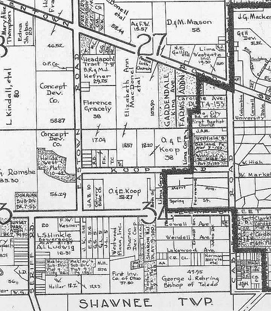This map shows the land owned by the Koop family in 1961. A 51-acre shopping center and housing development was planned on the site of the former dairy farm owned by Orville and Emma Koop.