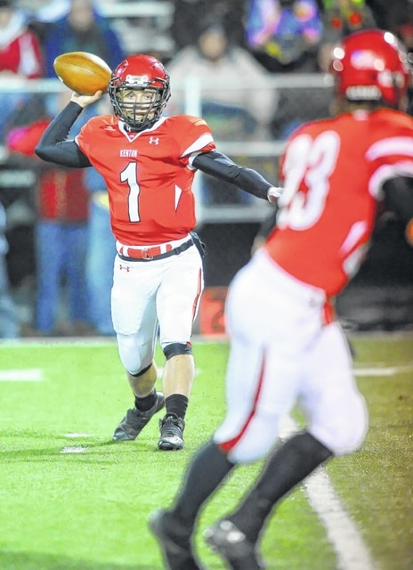 Kenton's Trent Hites looks for a receiver during a playoff game last year. Hites will be asked to make his reads more quickly this season and distribute the ball to a variety of unproven receivers.