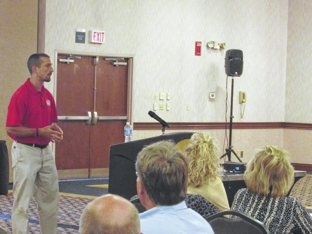 Steve Knapke, a local gym owner, spoke to the West Central Ohio Safety Council about obesity and nutrition Tuesday.