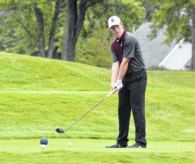 Dean Brown | The Lima News Kalida's Jeffery Knueve prepares to hit a drive during a Wednesday match against Lima Central Catholic and Elida at Country Acres.