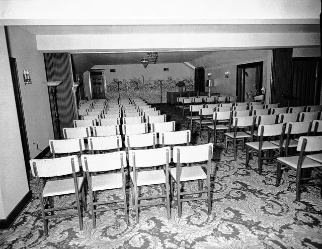 The interior of Chiles Funeral Home, pictured in 1957.