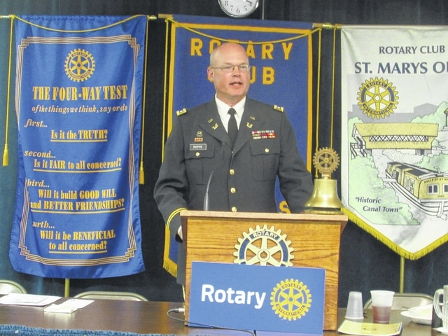 Lance Mihm | The Lima News Lt. Col. Kris Poppe discussed his job as a defense attorney to Rotary Club members Wednesday at the Eagles Lodge in St. Marys. Poppe has been involved in three high-profile cases that drew national media attention.