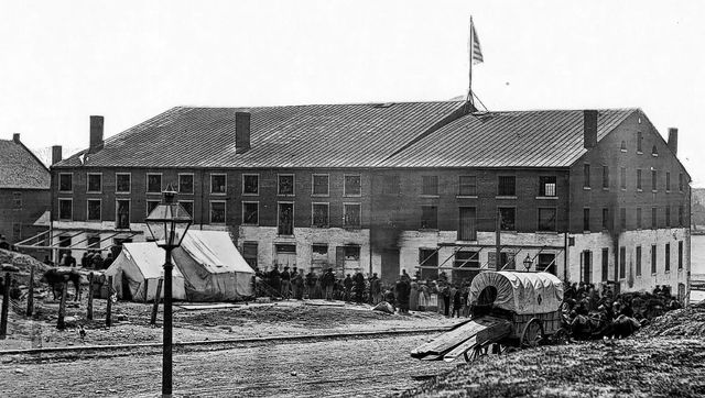 "Libby Prison, in the Confederate capital of Richmond, Virginia. ""(Ream) spent five months in Libby prison where starvation all but took his life,"" the News wrote. ""Upon his parole, he walked three miles before he sighted the American flag, which to him he says was one of the most wonderful sights in his lifetime."""