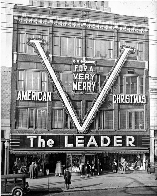 The exterior of the Leader is pictured in 1944, wishing passersby a very merry Christmas.