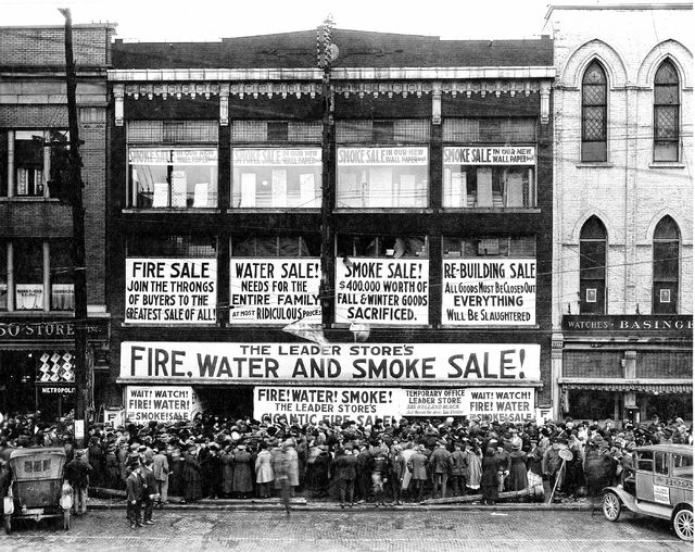 A fire sale at The Leader in 1920 was so incredibly popular with Lima citizenry that workers had to only let so many people in at a time to reduce overcrowding.