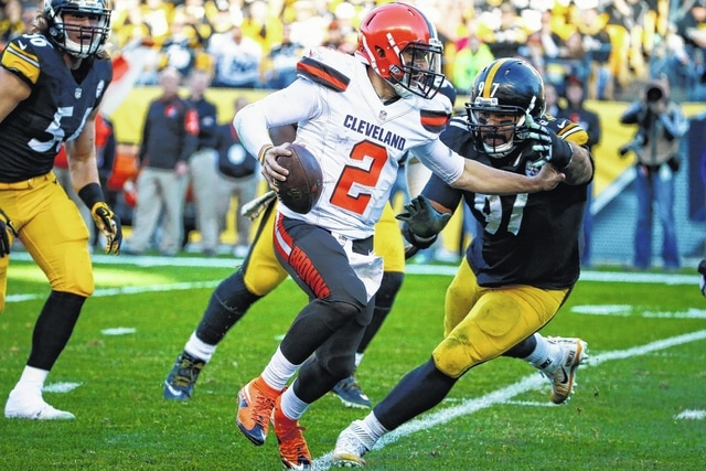 Cleveland Browns quarterback Johnny Manziel (2) takes off on a run against the Pittsburgh Steelers, Sunday, in Pittsburgh. Manziel was named the starter for the rest of the year on Tuesday. AP Photo