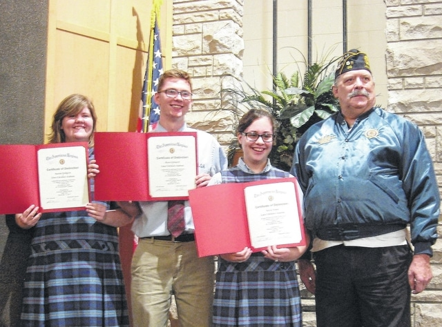 Dave Stratton | Submitted photo Lima Christian Academy students, from left, Sharah Pettigrew, Dylan Pettigrew and Kayla Stump stand with American Legion Veteran Service Officer Ron Frank while holding the certificates they received for winning the Legion's Americanism and Government Test Program.