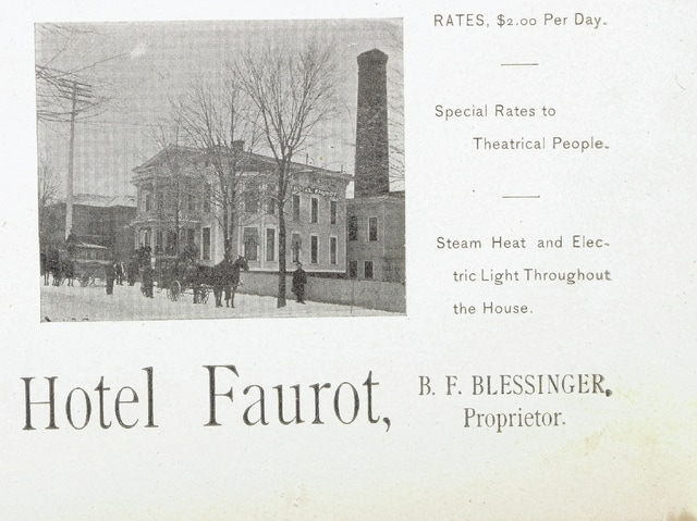 Hotel Faurot, also called the Faurot House and the Colonial Hotel, was in the 200 block of North Elizabeth Street, Lima. It was across the street from today's Argonne Residence Inn.