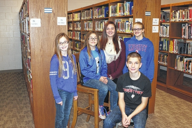 Crestview Middle School students Alyssa Hoersten, Logan Gerardot, Danee Krouse, Alexia Taylor and Jordan Updegrove were named October and November Students of the Month. Not pictured is Aubrey Gebert.