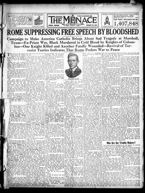 A 1915 edition of the Menace, a virulently anti-Roman Catholic newspaper published in Aurora, Mo. At its height, it had 1.5 million weekly subscribers -- a circulation that dwarfed the largest daily newspapers in New York and Chicago. (Photo courtesy Library of Congress/TNS)