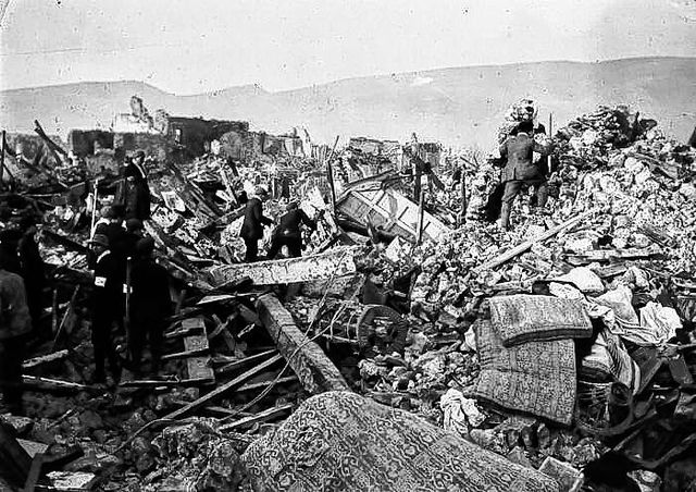 Avezzano, Italy, pictured during the earthquake of Jan. 13, 1915. Scenes of Avezzano, Italy, Earthquake. Every street was like this. Those who went into, or were in the streets, were buried under fallen buildings which filled streets almost to level of second story.