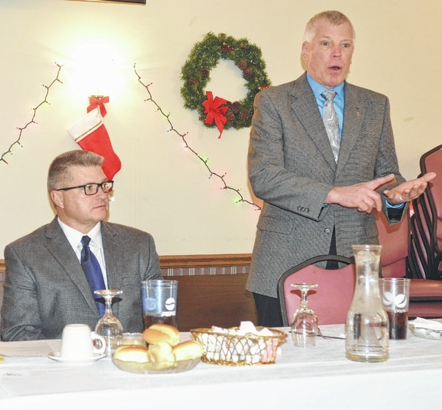 John Bush   The Lima News Ottawa Village Council President Timothy Macke, flanked by Ottawa Mayor Dean Meyer, discusses the creation of a Community Development Committee during the State of the Village address held Tuesday at the Schnipke Inn.