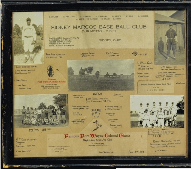 A homemade collage shows some of the history of the Fort Wayne Colored Giants and the Sidney Marcos Base Ball Club.