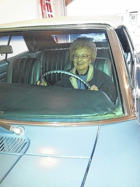 Bettie Bollenbacher is all smiles after taking a spin in the 1966 Chevrolet SuperSport Convertible that her parents purchased for her and husband Otto nearly 50 years ago. Mrs. B still enjoys a ride with the top down and the Delco AM radio cranked up.