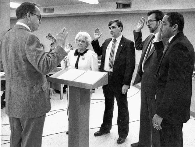 Riker and other take an oath of service in 1988.